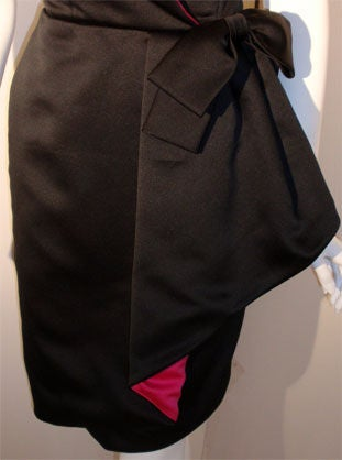 Victor Costa Black and Pink Silk Cocktail Dress, Circa 1980s 7