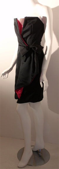 Victor Costa Black and Pink Silk Cocktail Dress, Circa 1980s 3