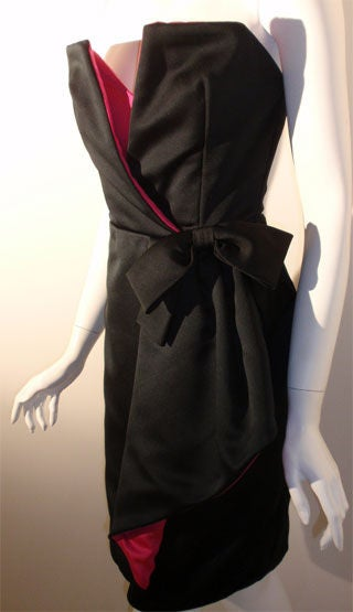Victor Costa Black and Pink Silk Cocktail Dress, Circa 1980s 8