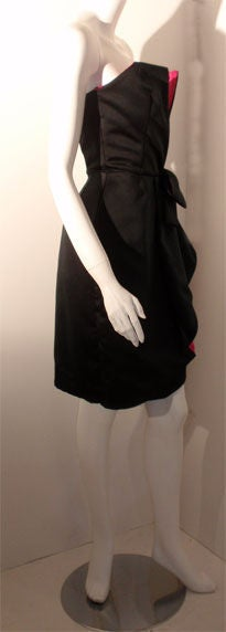 Victor Costa Black and Pink Silk Cocktail Dress, Circa 1980s 4