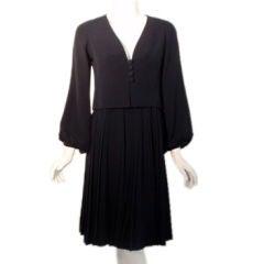 Christian Dior Haute Couture 2 piece Navy Dress Suit, Circa 1964 size 4