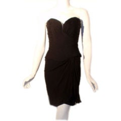 Vicky Tiel Black Strapless Cocktail Dress, Circa 1980