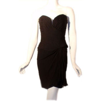 Vicky Tiel Black Strapless Cocktail Dress, Circa 1980