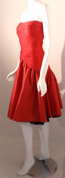 JILL RICHARDS Red Strapless Jersey & Taffeta Dress with Black Crinoline 1980's In Excellent Condition For Sale In Los Angeles, CA