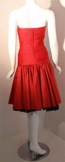 JILL RICHARDS Red Strapless Jersey & Taffeta Dress with Black Crinoline 1980's For Sale 2