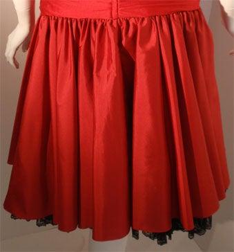 JILL RICHARDS Red Strapless Jersey & Taffeta Dress with Black Crinoline 1980's For Sale 6