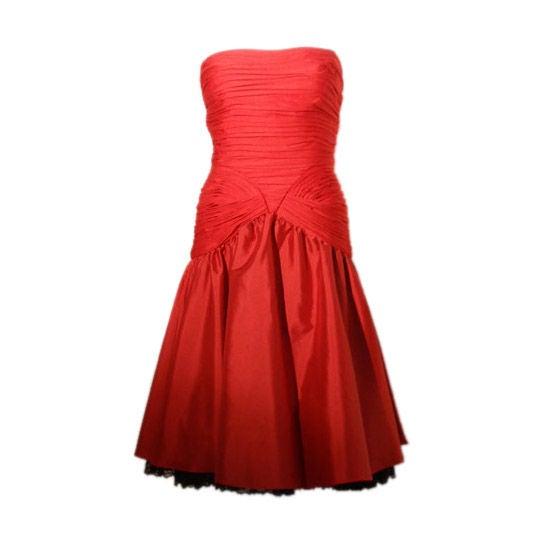 JILL RICHARDS Red Strapless Jersey & Taffeta Dress with Black Crinoline 1980's For Sale