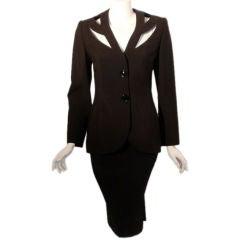 James Galanos 2pc Black Cut out Jacket and Skirt Set, Circa 1970's 4-6
