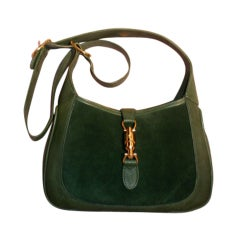 Gucci Vintage Green Suede Shoulder Bag, Circa 1970