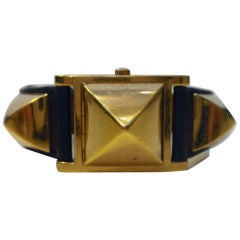Hermes Gold Studded Covered Watch, Circa 1990