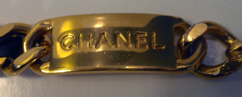 "Chanel Black Leather Woven into Gold Chain ""Coin"" Belt , Circa 1990's 2"