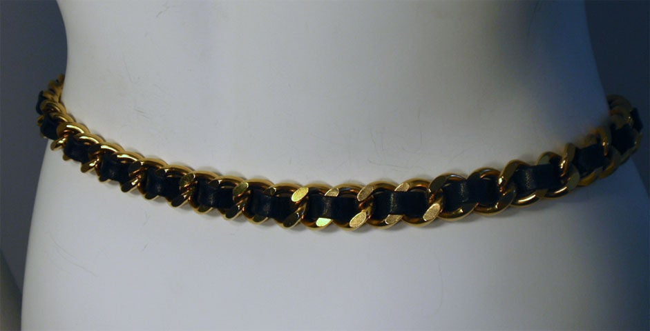 "Chanel Black Leather Woven into Gold Chain ""Coin"" Belt , Circa 1990's 5"