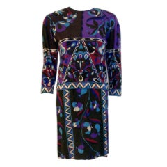Emilio Pucci Cashmere Jersey Charcoal, Purple, Blue Sweater & dress 1970s