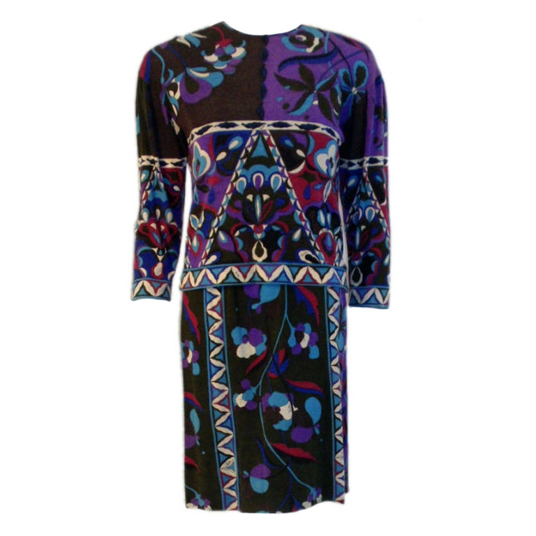 Emilio Pucci Cashmere Jersey Charcoal, Purple, Blue Sweater & dress 1970s