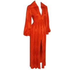 GALANOS for Amelia Gray Orange Silk Zip Front Gown, Circa 1970's