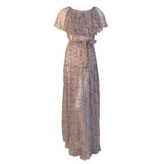 Valentino Boutique Lavender Silk Chiffon Water Color Floral Dress, Circa 1980