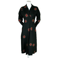 Adrian 1940's Wool Dress with Tartan Patches