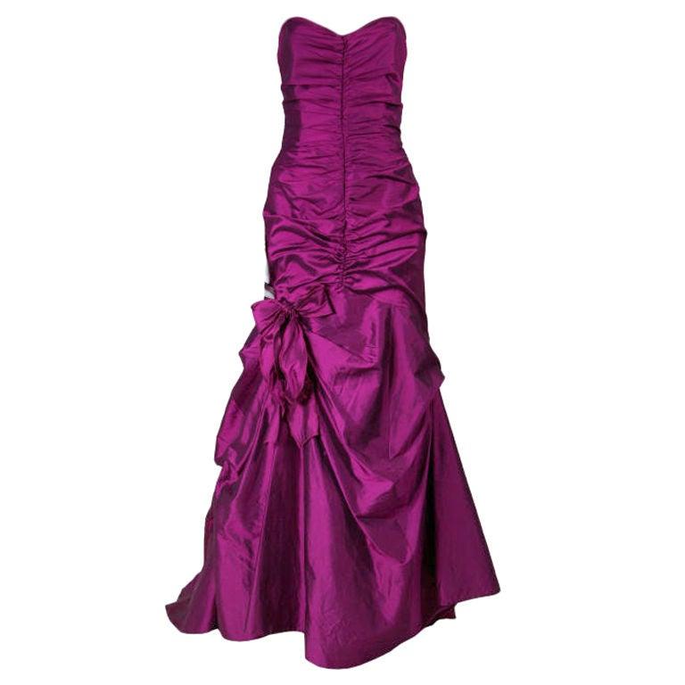 Valentino Fushia Silk Strapless Gown 1