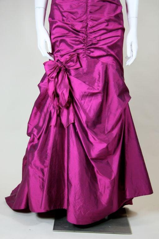 Valentino Fushia Silk Strapless Gown 2