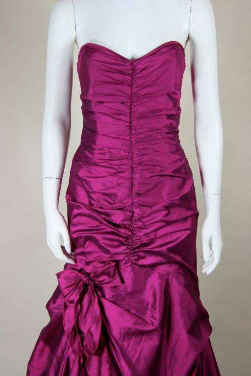 Valentino Fushia Silk Strapless Gown 3
