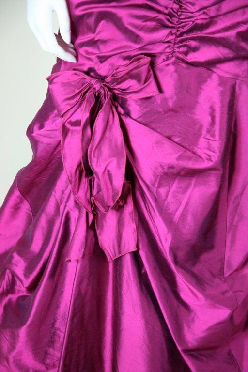 Valentino Fushia Silk Strapless Gown 4