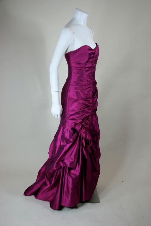 Valentino Fushia Silk Strapless Gown 5
