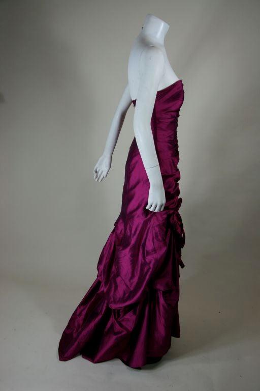 Valentino Fushia Silk Strapless Gown 6