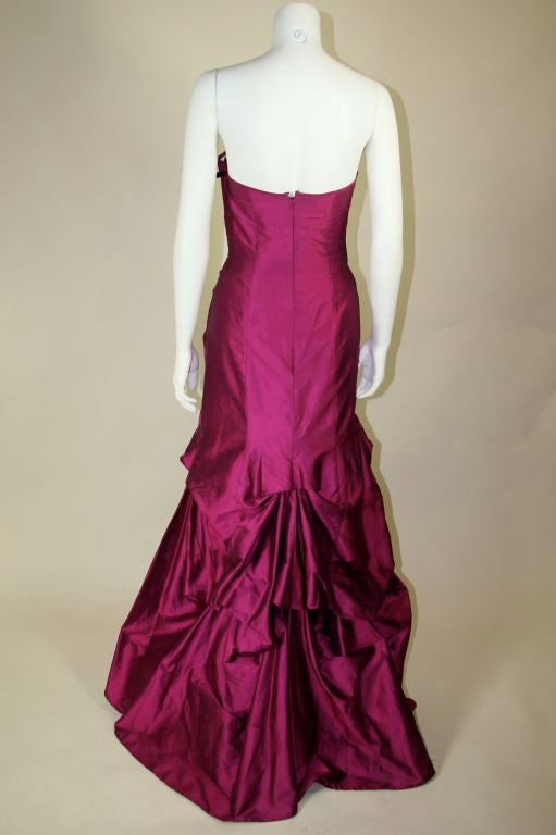 Valentino Fushia Silk Strapless Gown 7