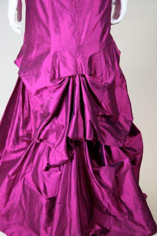 Valentino Fushia Silk Strapless Gown 8