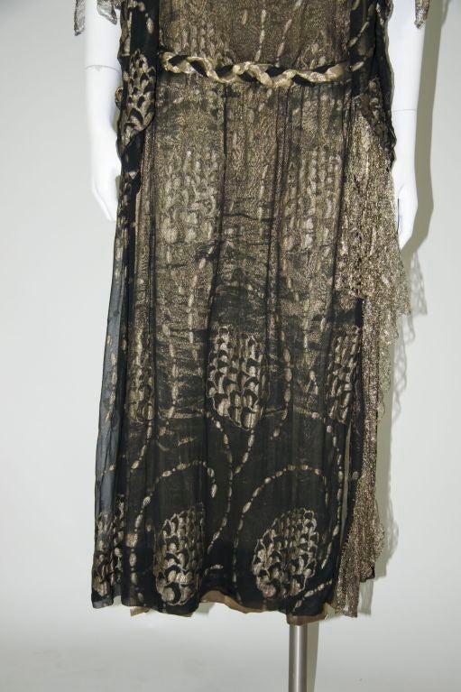 1920s Vintage Dress. Black silk chiffon and gold lame brocade 4