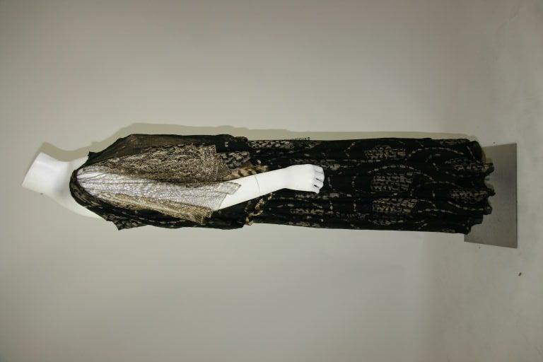 1920s Vintage Dress. Black silk chiffon and gold lame brocade 9