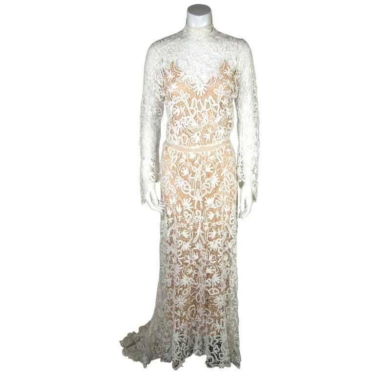 Crochet Wedding Dress : Edwardian Tape Lace and Irish Crochet Wedding Gown at 1stdibs