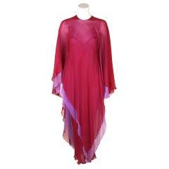Halston Crimson & Purple Silk Chiffon Gown