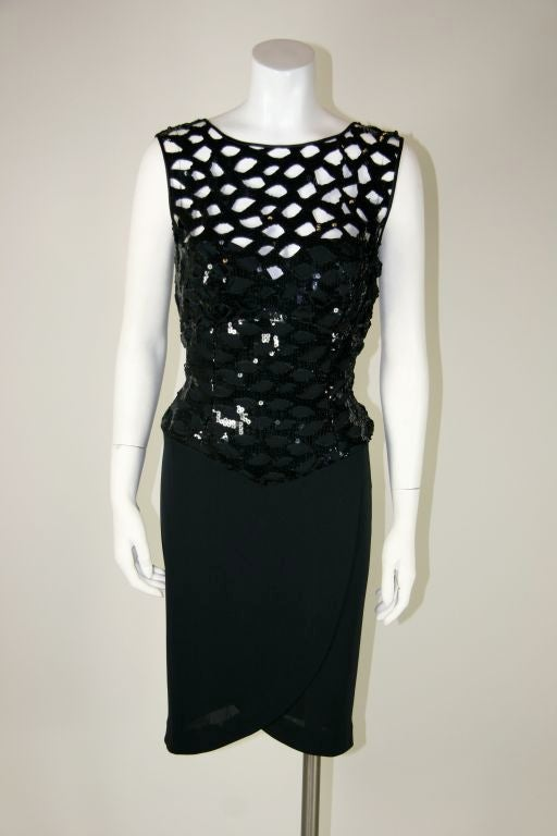 Vicky Tiel Black 1980s Sequined Peak-a-boo Cocktail Dress 2