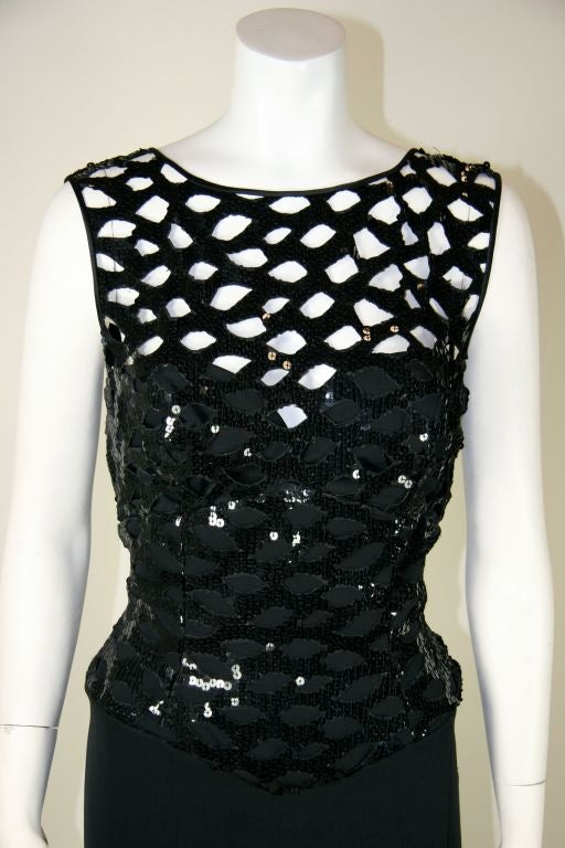 Vicky Tiel Black 1980s Sequined Peak-a-boo Cocktail Dress 3