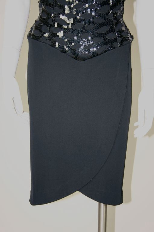 Vicky Tiel Black 1980s Sequined Peak-a-boo Cocktail Dress 4