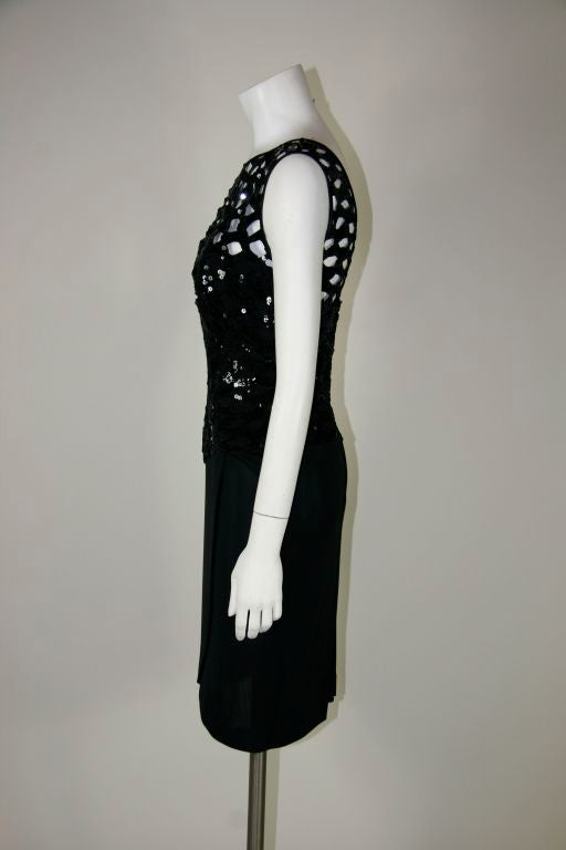 Vicky Tiel Black 1980s Sequined Peak-a-boo Cocktail Dress 5
