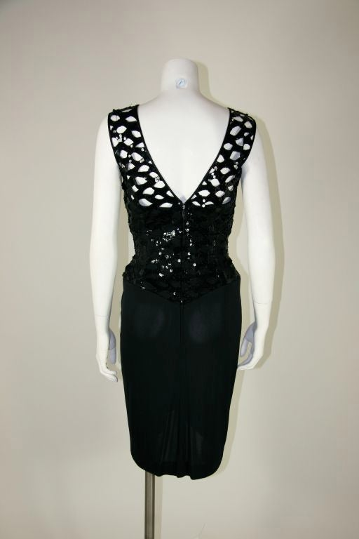 Vicky Tiel Black 1980s Sequined Peak-a-boo Cocktail Dress 6