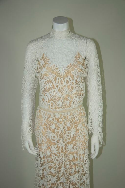 Edwardian Tape Lace & Irish Crochet Wedding Gown image 2