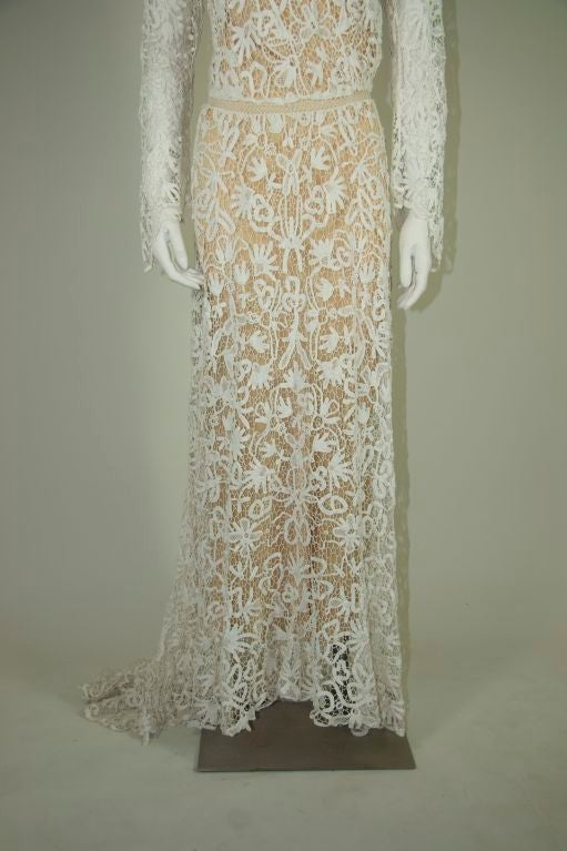 Edwardian tape lace and irish crochet wedding gown at 1stdibs for Crochet lace wedding dress pattern