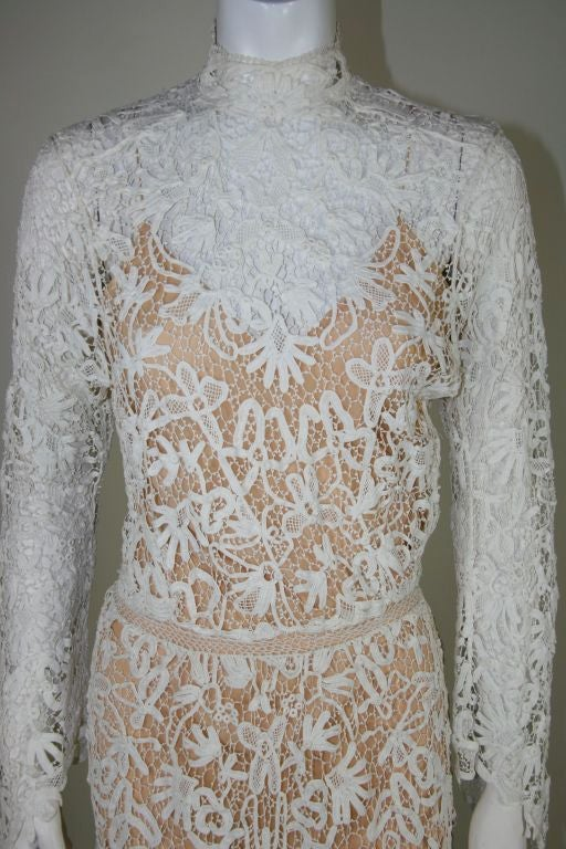 Edwardian Tape Lace & Irish Crochet Wedding Gown image 4