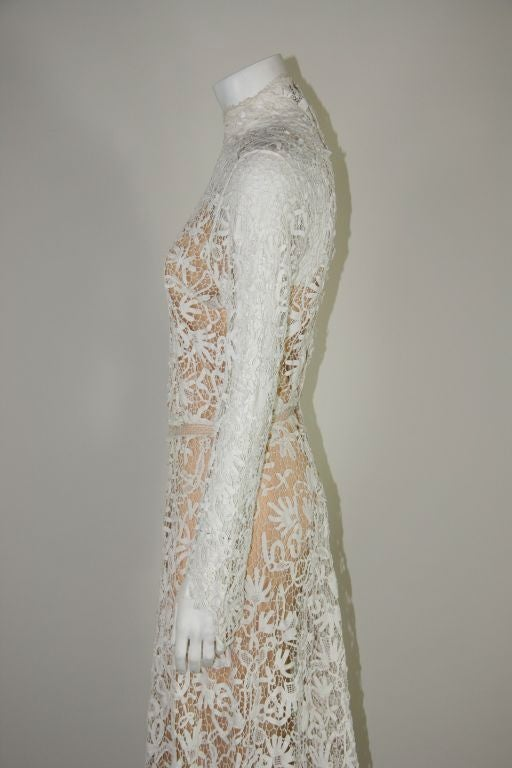 Edwardian Tape Lace & Irish Crochet Wedding Gown image 7