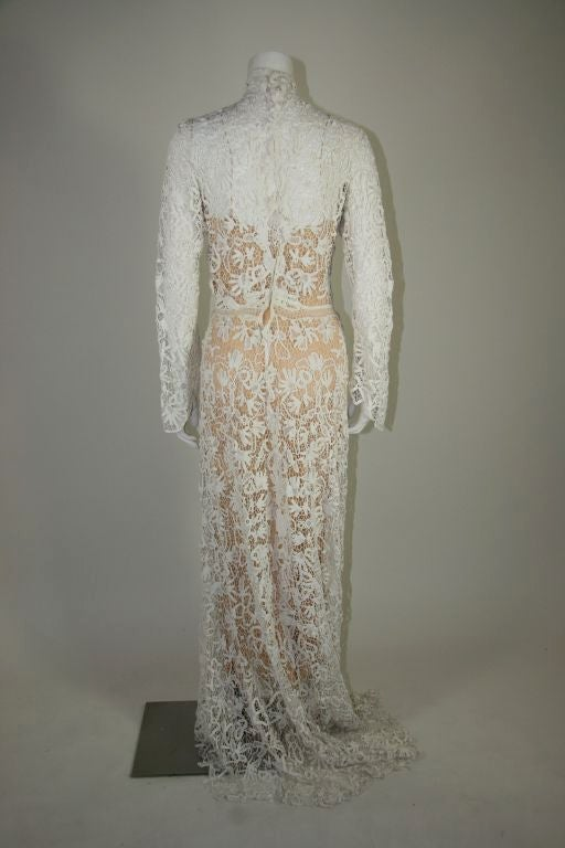 Edwardian Tape Lace & Irish Crochet Wedding Gown image 8
