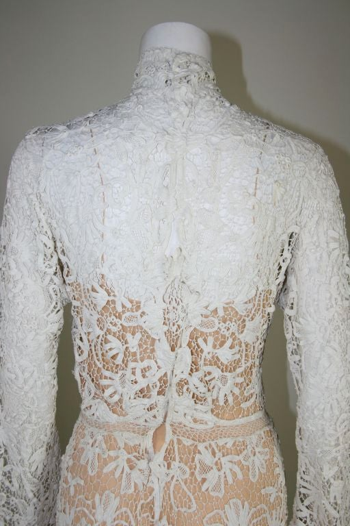 Edwardian Tape Lace & Irish Crochet Wedding Gown image 9