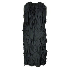 Galanos Black Chiffon All Over Volume Ruffle Chiffon Dress