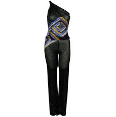 Versace Beaded Asymmetrical Pant Suit