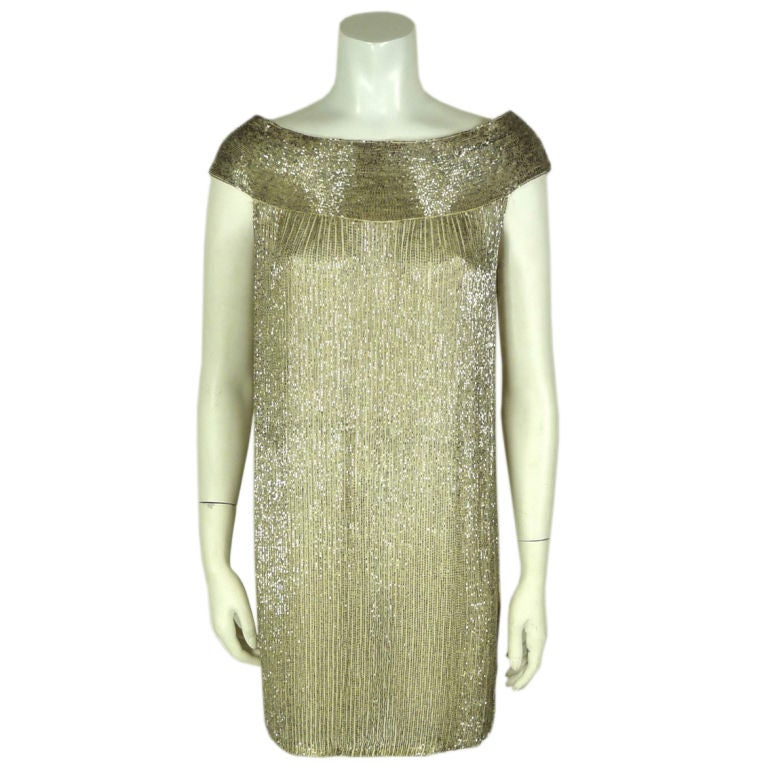 norell ivory beaded cocktail shift dress