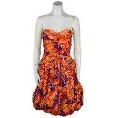 Blass Chiné Silk Taffeta Strapless Cocktail Dress