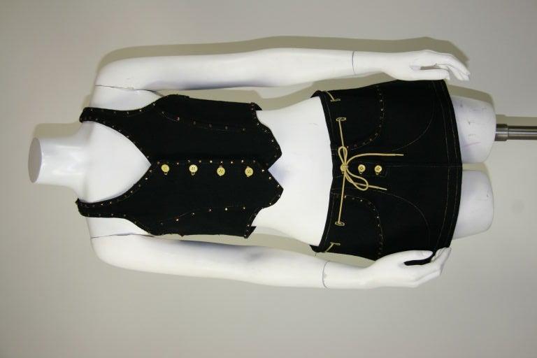 Paraphernalia 1960s Black Vest & Mini Skirt Ensemble 2