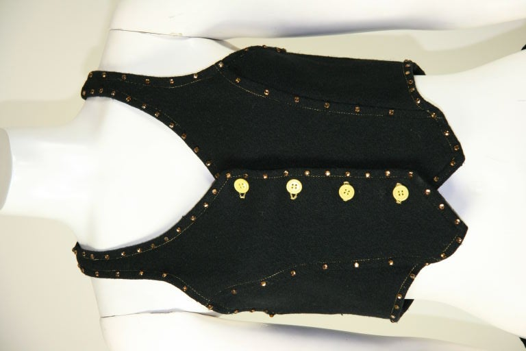 Paraphernalia 1960s Black Vest & Mini Skirt Ensemble 3